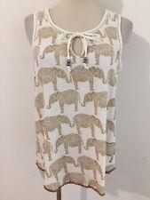 Lucky Brand Key-Hole Cami Sleeveless Top Ivory w/Beige Elephants Size S