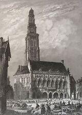 Hôtel de ville d' Arras Pas de Calais estampe XIXe France par Rouargue 1853
