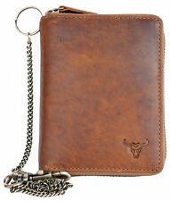 Men's biker's metal zip-around natural genuine leather wallet with bull + chain