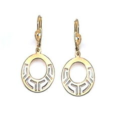 10K White and Yellow Gold Dangle Celtic Earrings