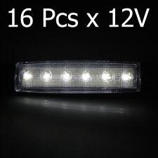 16 Pcs 12V White Waterproof 6 LED Lights Trailer Truck Lorry Side Marker Lamp