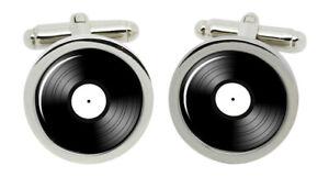 DJ Record White Label Cufflinks in Chrome Box