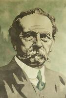 Farblinolschnitt, Handabzug - Portrait von Carl Benz, expressiv - [45.292]