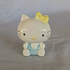 Hello Kitty Heartful Blue Ceramic Coin Piggy Bank 1976 Original Stopper Felt