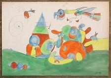 JOAN MIRO' - Watercolor on original cardboard of 1960's