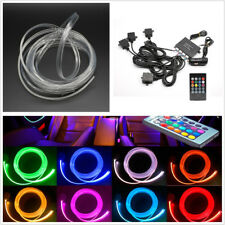 12V 4in1 Car SUV RGB LED Atmosphere Lamp 4M Neon Strip Fiber Optical+Remote Kit