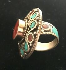 Old Pawn Sterling Navajo Huge Heavy Ring 23.3g  TURQUOISE & CORAL Inlaid SZ 8