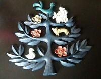 Vintage Mid Century Tree of Life Wall Plaque HOMCO folkart colors