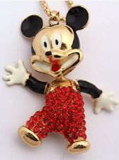 Betsey Johnson Necklace Mickey Mouse Red Black Gold Crystals Gift Box