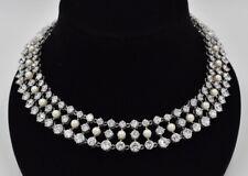 STUNNING Park Lane CZ Pearl 3 Row Collar Statement Bib Necklace Bridal Crystal
