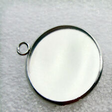 10pcs 25mm Base Blank Bezel Cabochon Setting Jewelry Round Pendant Trays Silver