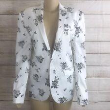 Asos Women White/ Black Floral Blazer Linen Jacket No Size Tag,   Measure Given