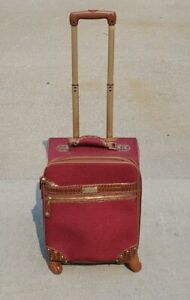 "Samantha Brown 21"" Croco Embossed Upright Burgundy / Brown Luggage Travel Bag"
