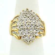 Fancy 10k Yellow Gold Waterfall Diamond 1.50 Ct. Cluster Ring Sz. 8-1/2