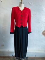 Vtg 90s Military Styled Dress Form Fitting Red Black 1 Piece Structured Wms 10
