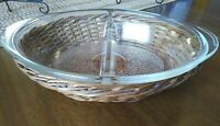 Vintage Clear Glasbake Divided Casserole Dish #J239 With Wicker Basket Carrier
