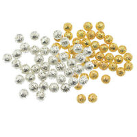200pcs Silver Gold Alloy Round Filigree Hollow Spacer Beads Loose Charms 8mm