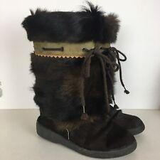 Oscar Sport VEGA Made in ITALY Brown Fur Fleece Lined Apres Ski Boots 8 US 38 EU