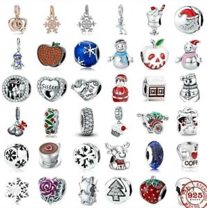 New Red Christmas Charms 925 Sterling Silver Women Charm Beads Jewelry Bracelet