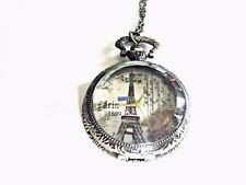 Pocket Watch Necklace Eiffel Tower Ornate Quartz Battery Included New