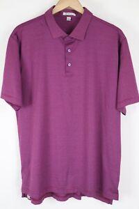 Peter Millar Mens sz XL Magenta Gray Striped Soft Cotton Short Sleeve Polo Shirt