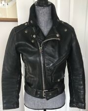 Vintage Lesco Women's Unisex Small Black Leather Motorcycle Biker Jacket