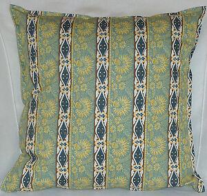 "Cushion Cover retro Green stripe print 100% cotton zipped 18"" & 16"" -  FREE p&p"