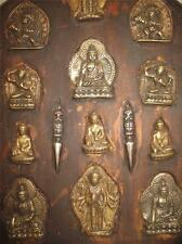 ANTIQUE TIBETAN ALTAR BRONZE FIGURES BUDDHA AVALOKITESVARA MANJUSHRI BODHISATTVA