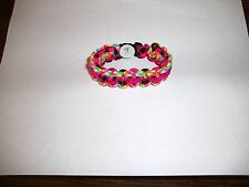 Brand New Survival Paracord Charm Bracelet Hand Made Pink Multicolored a sling
