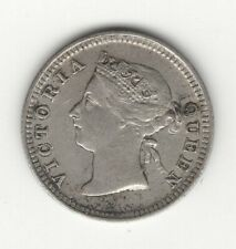 HIGHER GRADE 1886 MAURITIUS QUEEN VICTORIA SILVER 10 CENTS
