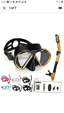 Omgear Snorkel Set Snorkeling Gear Package Diving Set Premium Silicone Gold