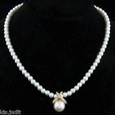 Bellissima collana a girocollo di perle e strass bianche  - Oro