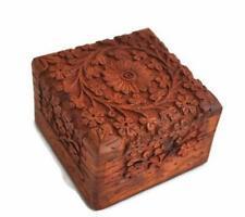 4 Inch Jewelry Box Keepsake Trinket Box Traditional Style Wood Hand Carved Decor