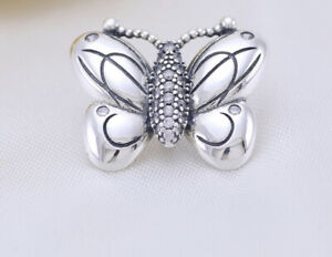 Authentic Pandora Silver 925 ALE Charm 797880 Decorative Butterfly Bead #12T