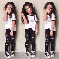 Toddler Kids Girls Tops T-shirt Long Ripped Pants Leggings Outfits Set Clothes