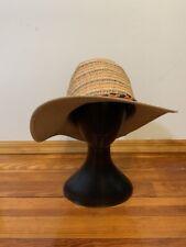 Women's Summer Beige Hat Panama with Trim Band Size M/L (57cm)