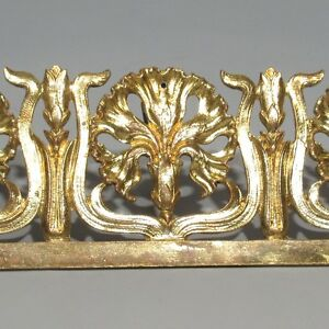 Antique French Art Nouveau Gilded Bronze Furniture Decoration, Carnations