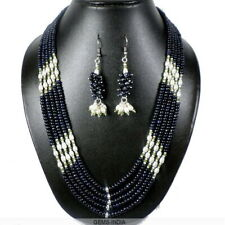 621+ Ct Natural Sapphire Pearl Gemstone Beaded Handmade Necklace with Ear-Rings