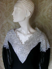 Vintage MISS MELINDA Black Crepe & SIlver Lace Cocktail Dress SzM 1960s