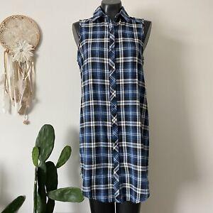 Medium Ladies San Souci Blue Plaid Sleeveless Shirt Dress