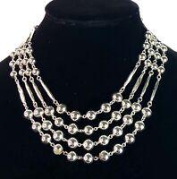 "VTG Coro Signed Multi Strand Silver Tone Necklace Bead Station 17.5"" Free Ship"