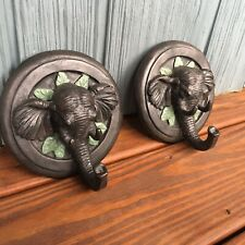 Rustic Resin Elephant Wall Decor Set