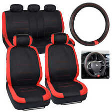 Two Tone Red / Black Car Seat Cover with Synthetic Leather Steering Wheel Cover