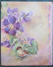 Vintage Happy Birthday Greeting Card Baby Robin Nesting in Violets