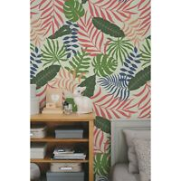 Pastel Colorful Exotic Leaves Non-Woven wallpaper Traditional watercolor Mural