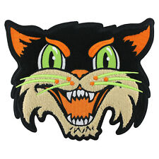 Halloween Cat embroidered chenille back patch- goth, black