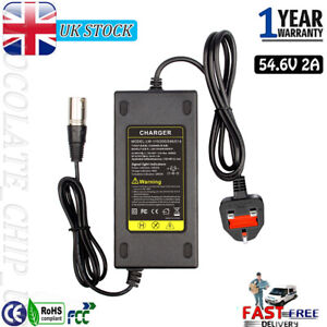 For 48V Li-ion Lithium Battery Charger UK Plug Electric Bicycle Part 54.6V 110W