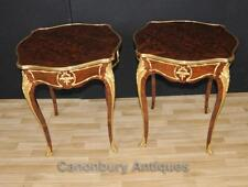 Pair French Empire Cocktail Side Tables Parquetry Inlay