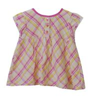 Baby Girls Mini Club Pink Yellow Check Short Sleeve Summer Dress Age 9-12 Months