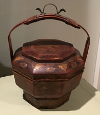 "Antique Chinese Wedding/Rice/Wood Basket Hand Painted Flower Bucket 10""X14"""